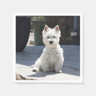 White West Highland Terrier Sitting on Sidewalk Disposable Napkins