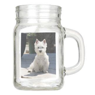 White West Highland Terrier Sitting on Sidewalk Mason Jar