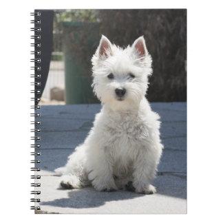 White West Highland Terrier Sitting on Sidewalk Notebook