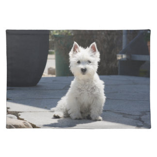White West Highland Terrier Sitting on Sidewalk Placemat