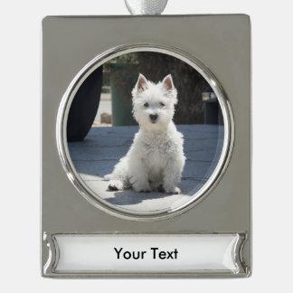 White West Highland Terrier Sitting on Sidewalk Silver Plated Banner Ornament