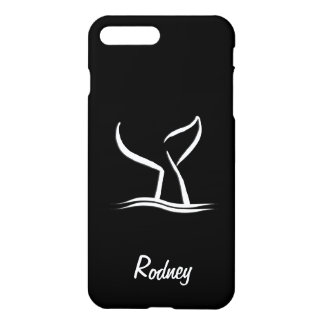 White Whale Tail on Black Personalized iPhone 8 Plus/7 Plus Case