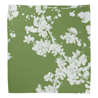 White Wild Cherry Blossoms on Green Bandana