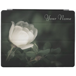White Wild Rose on a Dark Background. Your Text. iPad Cover