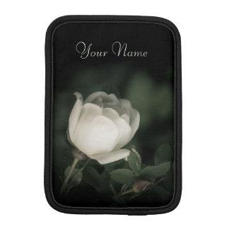 White Wild Rose on a Dark Background. Your Text. iPad Mini Sleeve