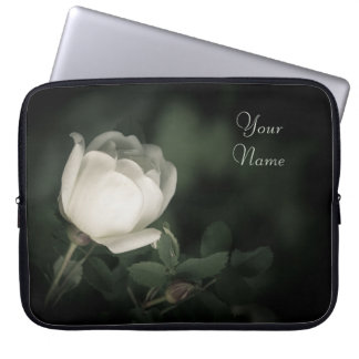 White Wild Rose on a Dark Background. Your Text. Laptop Sleeve