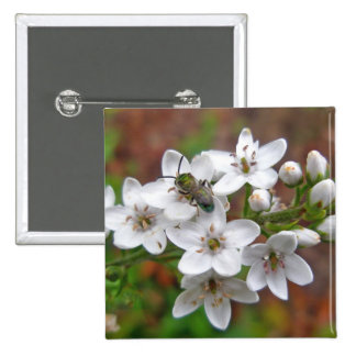 White Wildflower & Bee Fly 15 Cm Square Badge