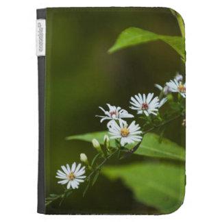 White Wildflower Kindle Folio Case