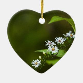 White Wildflower Ceramic Heart Decoration