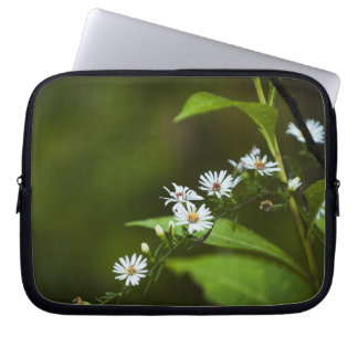 White Wildflower Laptop Sleeves