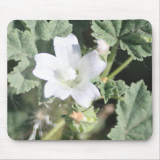 White Wildflower Mouse Pad