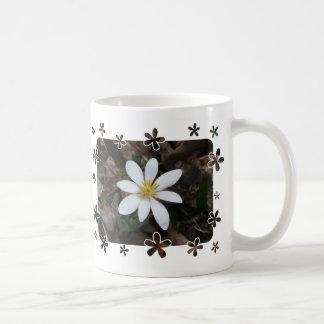 White wildflower classic white coffee mug