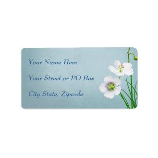 White Wildflower on Blue Wedding Address Label