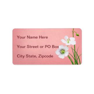 White Wildflower on Pink Wedding Address Label