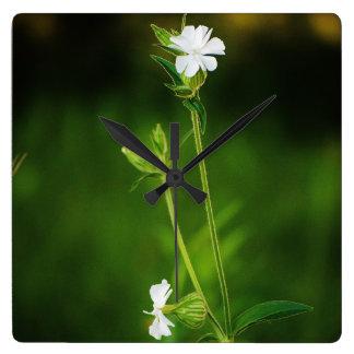 White Wildflower Square Clock