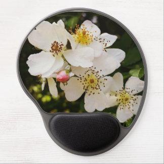 White Wildflower Themed Gel Mousepad