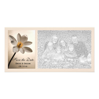 White Wildflower Wedding Save the Date Personalised Photo Card