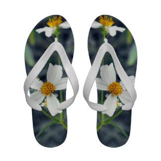 White Wildflowers Flip Flops