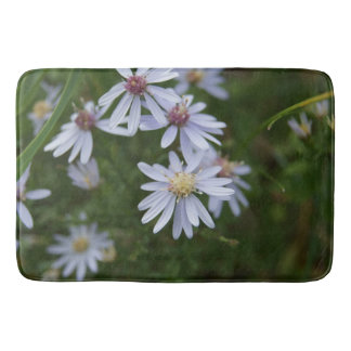 White Wildflowers, Large Bath Mat Bath Mats