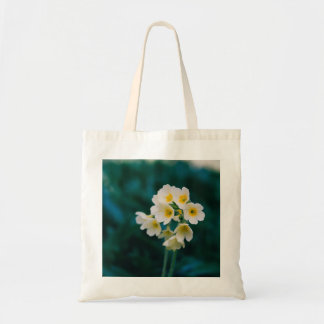 White Wildflowers On A Teal Background Budget Tote Bag