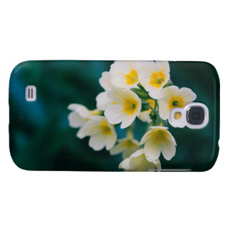 White Wildflowers On A Teal Background Galaxy S4 Cases