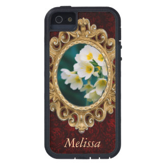 White Wildflowers On A Teal Background iPhone 5 Covers