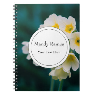 White Wildflowers On A Teal Background Spiral Notebooks