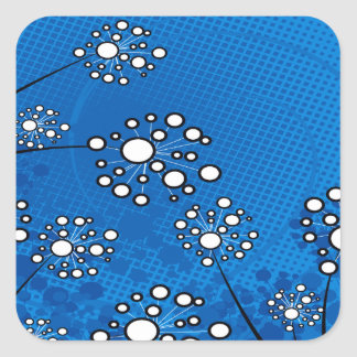 White Wildflowers on Blue Square Stickers