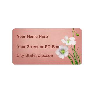 White Wildflowers on Burgundy Wedding Address Label