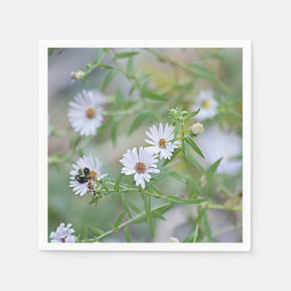 White wildflowers paper napkin