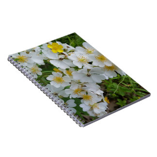 White Wildflowers Themed Journal Spiral Notebook