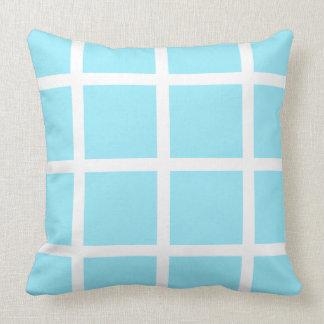 White Windowpane on Summer Sky Blue Throw Cushion