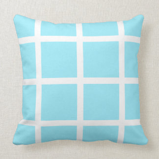 White Windowpane on Summer Sky Blue Throw Pillow