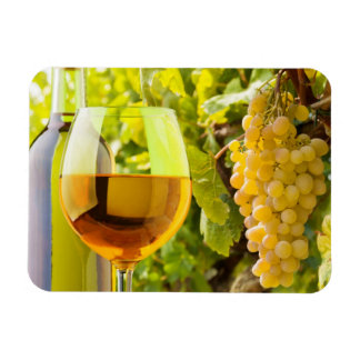 White Wine And Grapes Rectangular Photo Magnet
