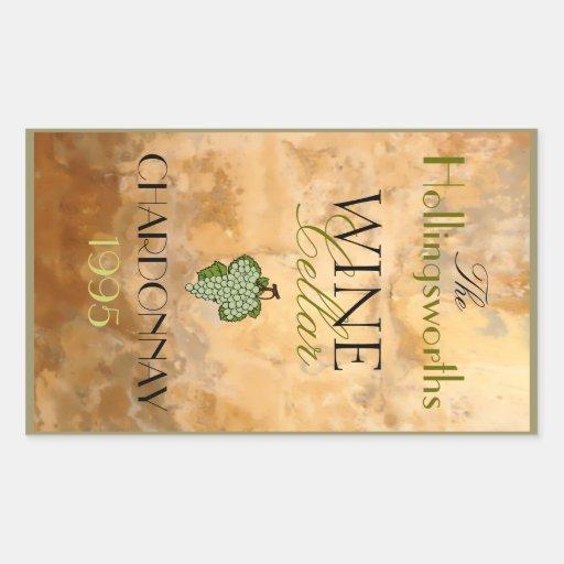 White Wine Bottle Label- Rectangular Stickers