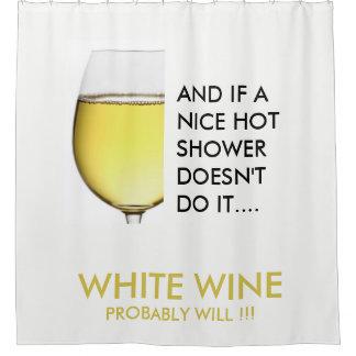White Wine. Drinking joke text Shower Curtain