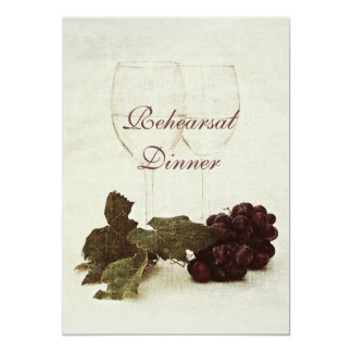 White wine glasses and grapes - Rehearsal dinner Card