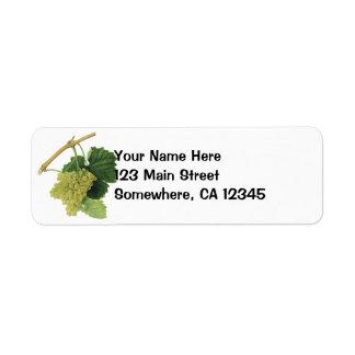 White Wine Grapes on the Vine, Vintage Food Fruit Return Address Label