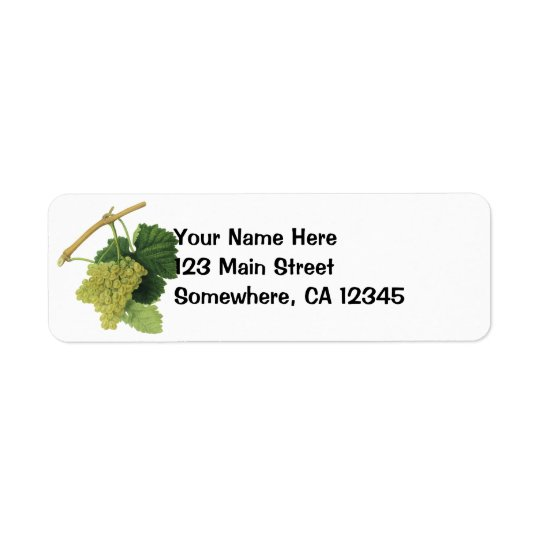 White Wine Grapes on the Vine, Vintage Food Fruit Return Address Label