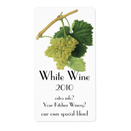 White Wine Grapes on the Vine, Vintage Food Fruit Shipping Label