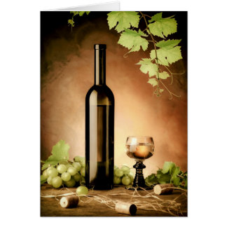 White wine still life card