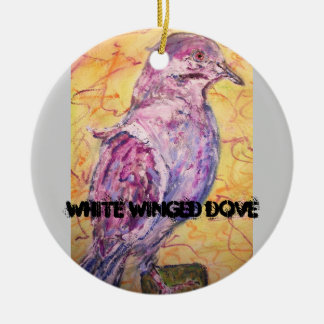 White-winged Dove art Christmas Tree Ornaments