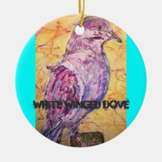 White-winged Dove art Round Ceramic Decoration