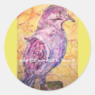 White-winged Dove art Round Sticker