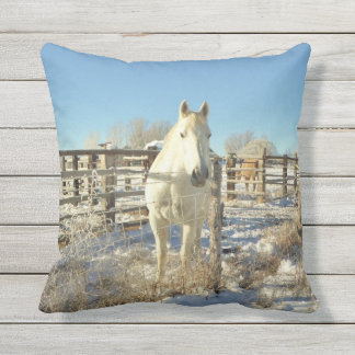White Winter Horse In Snow Outdoor Pillow