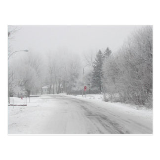White winter red stop postcard
