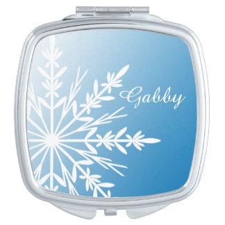 White Winter Snowflake on Blue Mirror For Makeup