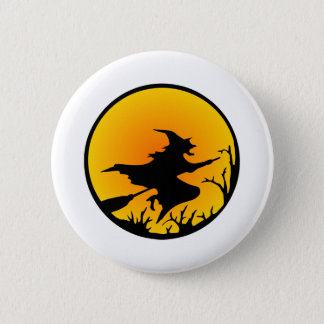 White Witch Broom Circle Moon 6 Cm Round Badge