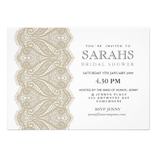 White with Beige Lace Bridal Shower Party Invite