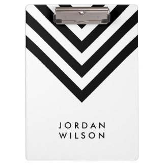 White with Black Chevron Modern Minimalist Clipboard